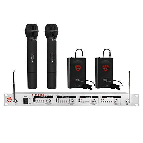 Nady U-41 Wireless UHF Handheld & Lapel 4-Channel Microphone System With 4 Transmitters (Duo Dkw Microphone)