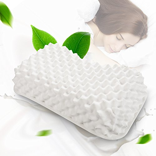 100% Natural Latex Pillow (100 Natural Latex Pillow - Standard Neck Support Pillow, Bed Pillows for Sleeping with Washable Cover - Rubber Foam Pillow)