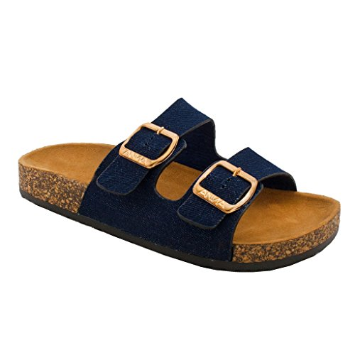 Women's Casual Buckle Straps Flip Flop Footbed Sandals (Denim Blue-B) 06 US