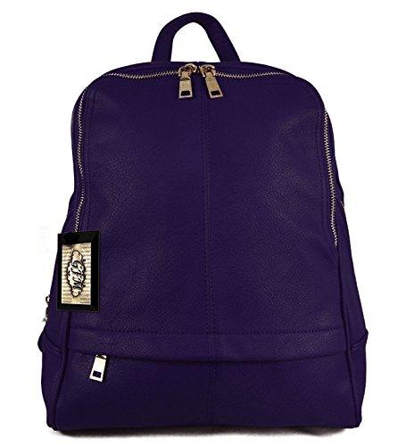 GFM - Bolso mochila  de sintético para mujer small Style 6 - Dark Purple (881GHJMN)