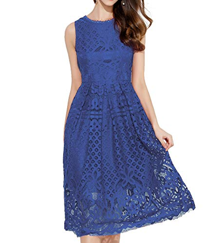 VEIIASR Womens Fashion Sleeveless Lace Fit Flare Elegant Cocktail Party Dress (Large, Blue)