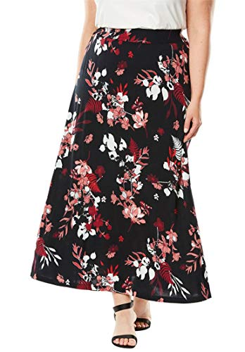 Jessica London Women's Plus Size Everyday Knit Maxi Skirt Red Bouquet,22/24 ()