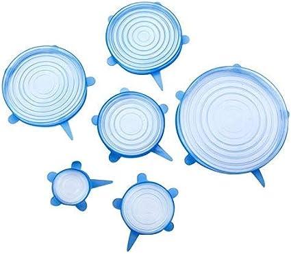 6-Piece Blue Sannysis Silicone Fresh-Keeping Elastic Bowl Cover Plastic wrap