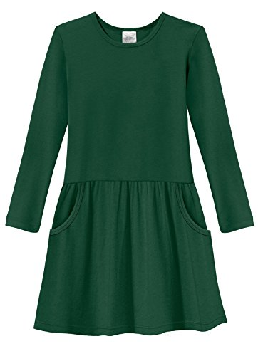 City Threads Little Girls' Cotton Party Jersey Drop Waist French Pocket Dress - Sensitive Skin and Sensory Friendly - School Summer, Forest Green, (Party City Ct)