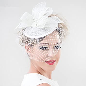 73836701c88b8 Amazon.com   Mxoza - Red Royal Blue Wedding Bowknot Fascinator Sinamay  Women Elegant Church Party Hat Birdcage Veil Cocktail Sinamay Hat Hair Clip    White   ...