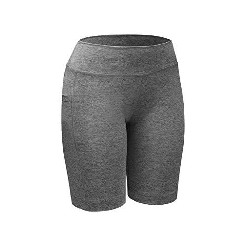 1d7eadcf4ba11 NUWFOR Women's High Waist Yoga Pants Pockets Tummy Workout Running Sports  Shorts Pants(Gray,