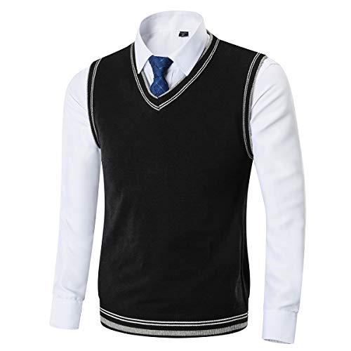 Kinlonsair Mens Casual Slim Fit Lightweight V-Neck Sweater Vest Black