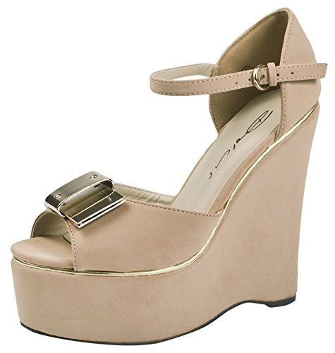 DOLCIS STRAPPY METAL BOW PLATFORM PEEPTOE WEDGES WOMENS LADIES SHOES SANDALS SIZE 3-8 Brown 2TFEEO