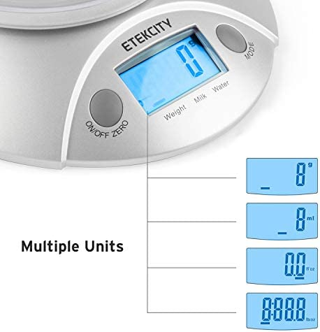 Etekcity Food Scale with Bowl Digital Kitchen Weight for Cooking Baking and Dieting 11lb5kg Backlit