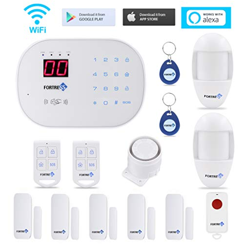 Fortress Security Store S03 WiFi and Landline Security Alarm System Classic Kit Wireless Home Security System Works with Alexa and App Controlled (Alarm Keypad Controlled)
