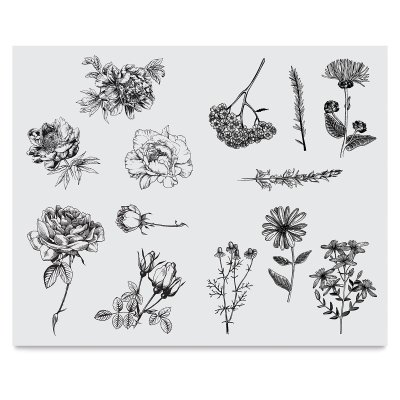 Mayco Designer Silkscreens DSS-112 Flowers Designs, for Adding Intricate Drawings to Any Craft Surface