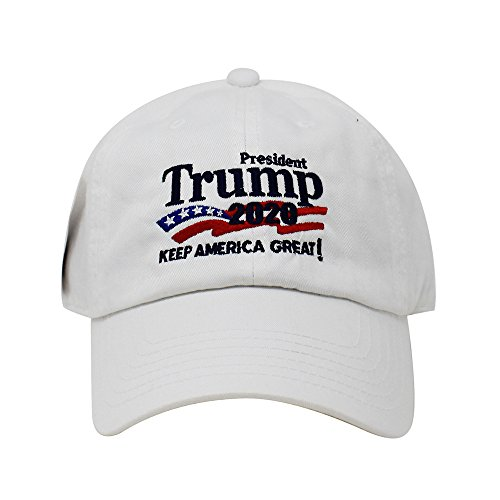 Logo Embroidered Hat Cap - Trump 2020 Keep America Great Campaign Embroidered USA Hat | Baseball Bucket Trucker Cap (Cotton White)
