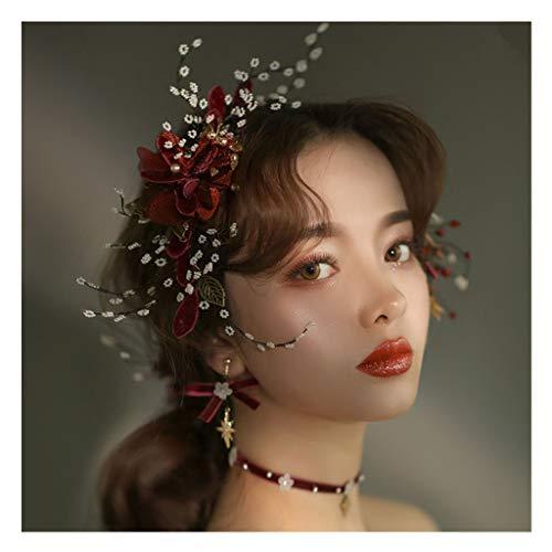 Wreath Flower Bride Headdress Wine Red Head Flower Necklace Dinner Wedding Toast Dress Hair Accessories (Color : B)