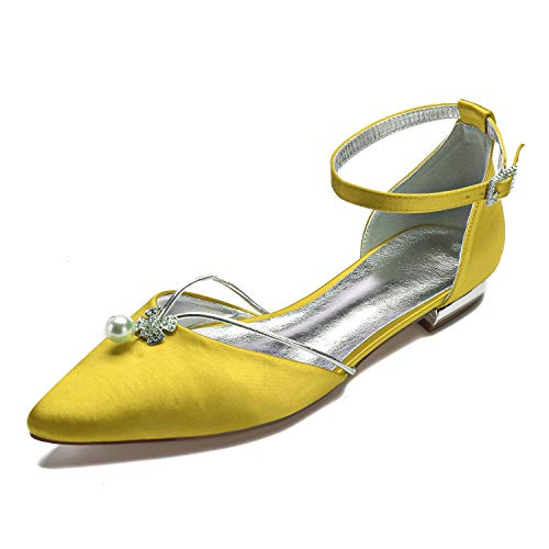 Creativesugar Lady Elegant Pointed Toe Satin Dress Flats Shoes with Pearl and Crystals (10, Yellow) ()