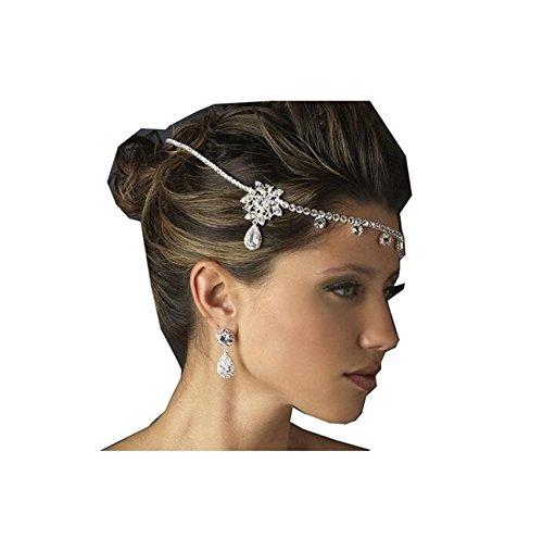 Minid Celebrity Wedding Rhinestone Hairband Elastic Hair Band Headchain Kim Rhinestone Head Chain