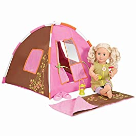 Our Generation Dolls Polka Dot Doll Camping Set, 18″, Brown (BD37050Z)
