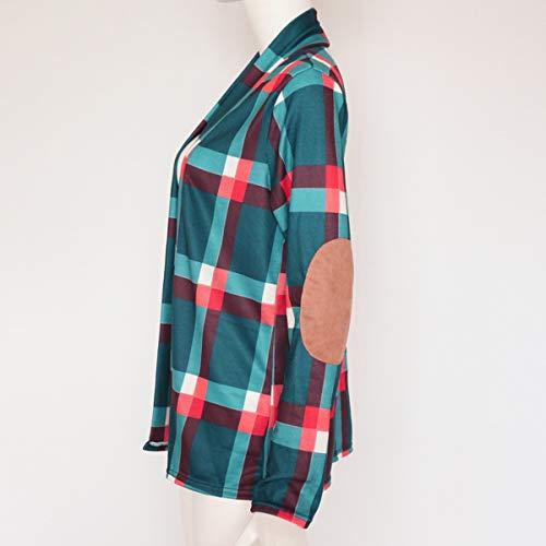 Casual Verde Outerwear Lunga Cime Camicie Quotidiani Giacca E Manica Cappotti Moda Donna Quadri Bluse Cardigan Autunno Tops A Primavera qxYUwnfapt