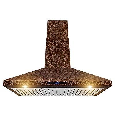 "AKDY Wall Mount Range Hood -36"" Embossed Copper Hood Fan for Kitchen - 4-Speed Professional Quiet Motor - Premium Touch Control Panel - Elegant Design - Baffle Filter & Halogen Lamp"