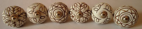 Hand Carved Ceramic - Vintage Look Lot of 6 Zoya's Colorfull Hand Carved Ceramic Knobs Handmade Ceramic Door Knobs Kitchen Cabinet Drawer Pull Kid's Badroom Knobs by Zoya's (White)
