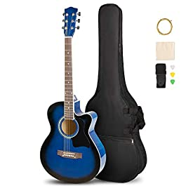 ARTALL 39 Inch Handmade Solid Wood Acoustic Cutaway Guitar Beginner Kit with Gig Bag, Strings, Picks, Strap, Glossy Blue