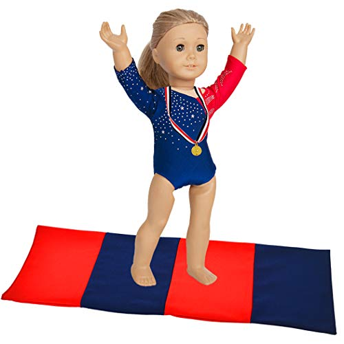 ebuddy 3pcs Sports Leotard Doll Clothes for American Girl Dolls - Includes Gymnastics Outfit, Mat Set, Gold Metal (Patriotic Design for Summer Olympics)