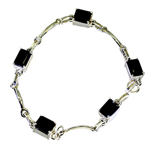 Black Onyx And Sterling Silver Bracelet (Genuine Black Onyx Sterling Silver Bracelet For Women Link Style Handmade Astrological Length 6.5-8 Inch)