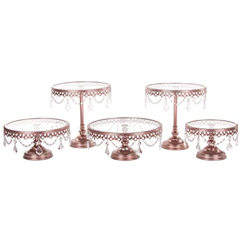(Victoria Rose Gold Cake Stand Set of 5, Round Glass Plate Metal Dessert Cupcake Pedestal Wedding Party Display with Crystals)