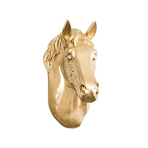 Wall Charmers Horse in Gold - Faux Head Bust Fauxidermy Animal Art Replica Taxidermy Resin Fake Decorative Mount Decor Mounted Country