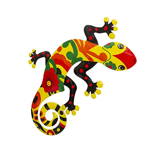 Whimsical Gecko Metal Wall Art | Talavera-Style Home Decor | Stylish Wall Decorations for Living Room, Kitchen, Outdoors, Office, Bedroom, Garden, Bathroom | 13x12 Inches (Gecko) (Art Wall Outdoor Gecko)