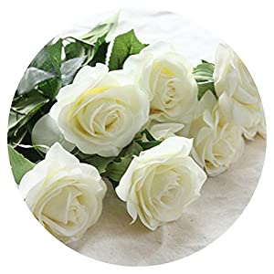 8pcs/11pcs Real Touch Latex Artificial Flowers Wedding Bridal Bouquet Fake Flowers Floral Wedding Party Decorative Flowers,White style1,8pcs 97