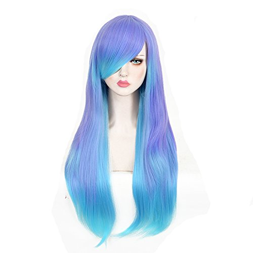 Discount CosHouse Girls Sweet Long Natural Wigs 29 inches Highlight Blue Cosplay Wig for Party Halloween for cheap