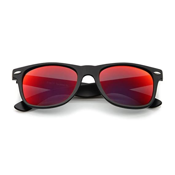zeroUV - Retro 80's Classic Colored Mirror Lens Square Horn Rimmed Sunglasses for Men Women 2 Reinforced Metal Hinges Smooth Matte Finish Stunning Color Mirrored Lens