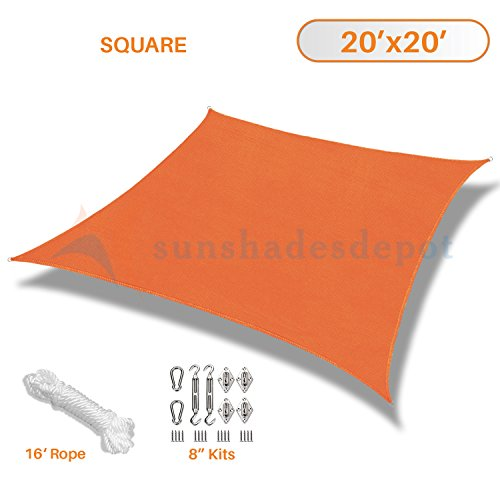 TANG Sunshades Depot 20 x20 Orange Sun Shade Sail with 8 in Hardware Kit 180 GSM Square UV Block Durable Fabric Outdoor Canopy Patio Garden Yard Pergola Kindergarten Playground Custom