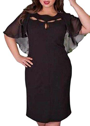 Sleeve Black Batwing Loose Plus A Line Midi Women Chiffon Big Tang Dress Size p7ttI
