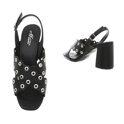 Ital-Design High Heel Sandaletten Damenschuhe Pump Heels Schnalle Sandalen & Schwarz 369-7