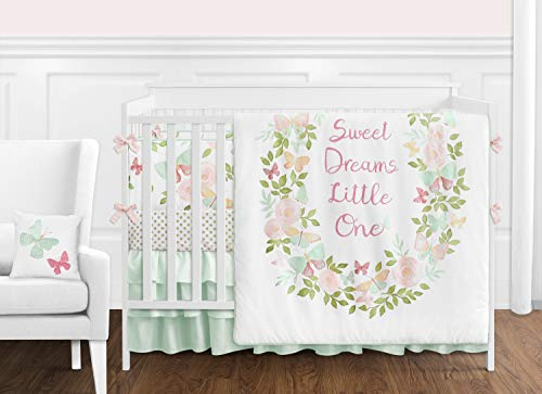 Sweet Jojo Designs Blush Pink, Mint and White Shabby Chic Butterfly Floral Baby Girl Crib Bedding Set with Bumper - 9 Pieces - Watercolor Rose