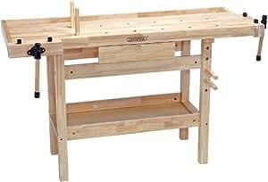 Draper - Banco de trabajo de carpintería (139 x 49 x 86 cm, madera de roble lacada, un cajón, dos tornos de 150 mm, 38 kg)