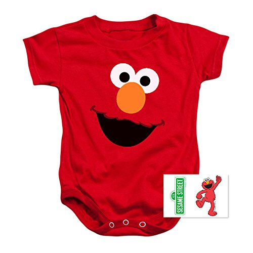 Popfunk Infant Sesame Street Elmo Face Snapsuit & Exclusive Stickers (18 Mos)
