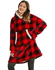Keluomanduo Oversized Hoodie Sweatshirt, Fleece Warm Wearable Blanket Giant Fluffy Hoodie Large Front Pocket with White Trim Adults Men Women Teens, One Size Fits All