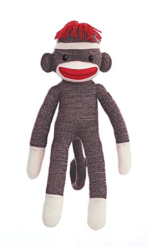 Plushland 20' Tall Adorable SOCK MONKEY, Soft Realistic Plush Knitted Stuffed Animal Toy Gift - For Kids, Babies, Teens, Girls and Boys Baby Doll Present Puppet (Brown)