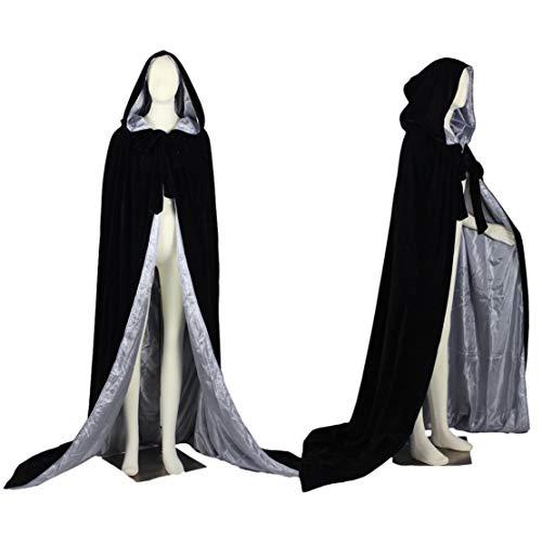Qianruidia Unisex Full Length Hooded Robe Cloak Long Velvet Cape Cosplay Costume