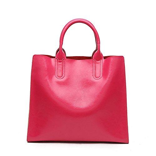 MALLUO - Bolso mochila  de Piel de vaca para mujer rosa roja
