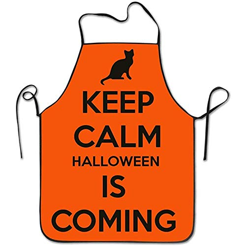 1y2x Keep Calm Halloween is Coming Aprons Bib Unisex Lace Adjustable Polyester Chef Cooking Long Full Kitchen Aprons for Indoor Restaurant Cleaning Serving Crafting Gardening Baking BBQ Grill ()
