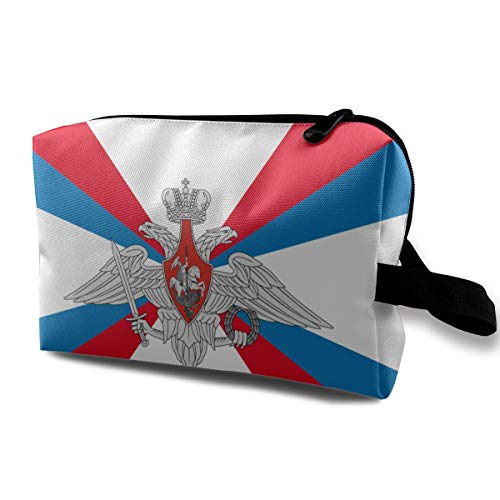 Make up Bag, Cosmetic Train Case Holder Multi-Purpose Travel Bag, Large Capacity Luggage Pouch Pen Box Organizer, (Flag Of The Ministry Of Defence Of Russian Federat), Women Ladies Portable ()