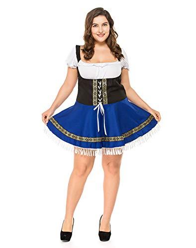 Women German Bavarian Costume Oktoberfest Beer Girl Dress Carnival Halloween (Blue/White,Medium)