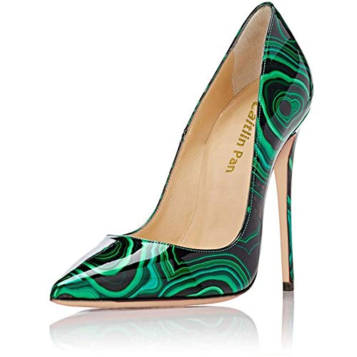 Pumps Size Court green Pointed Formal Red Womens On Sexy Pan Toe A Shoes Stilettos Dress Shoes High Slip Heel B0tt0m Basic 11 3 UK Caitlin Patternt BTqCpXcww