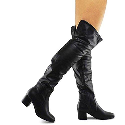 Premier Standard Women's Over The Knee Stretch Boot - Trendy Low Block Heel Shoe - Sexy Over The Knee Pullon Boot - Comfortable Easy Heel Boot, TPS Linden-02 v2 Black (Sexy Black Knee High Boots)