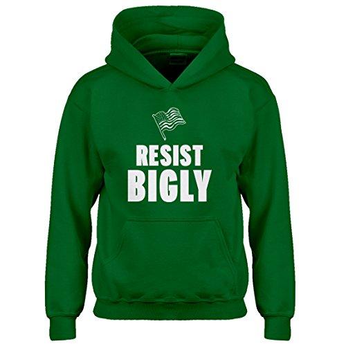 Youth Iron Patriot Hoodie (Indica Plateau Hoodie Resist Bigly Small Kelly Green Kids Hoodie)