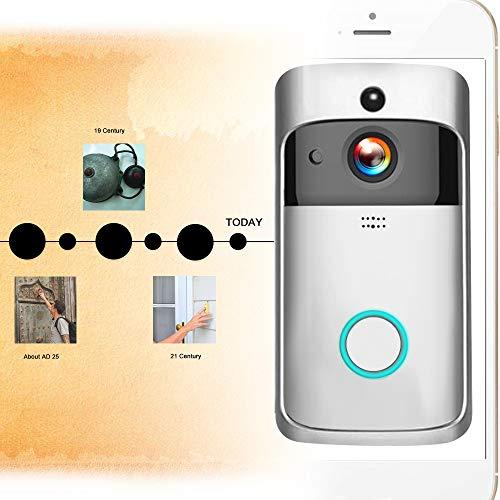Securome Inteligente HD 720P Intercomunicador de video inal/ámbrico WI-FI Videoportero Tel/éfono Timbre visual WIFI C/ámara de timbre para apartamentos Alarma IR C/ámara de seguridad inal/ámbrica con campa