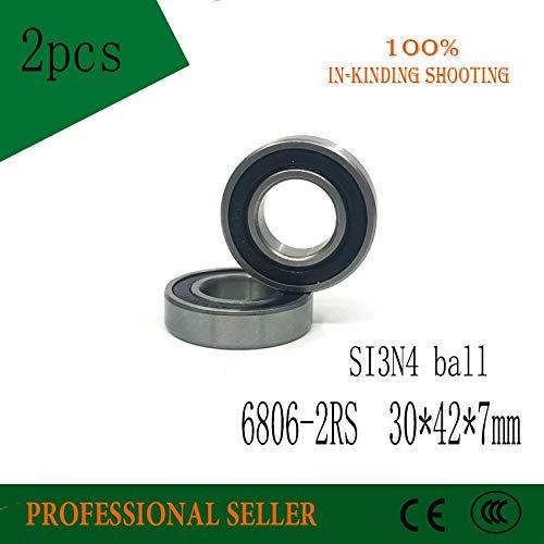 Fevas 2pcs 6806-2RS 30x42x7mm 61806 2RS SI3N4 Balls Hybrid Ceramic Ball Bearing for BB30 6806 RS